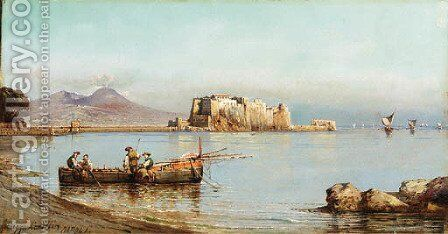 Fisherman in the Bay of Naples by Giuseppe Carelli - Reproduction Oil Painting