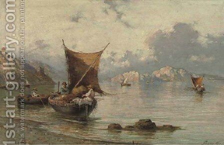 Fishingboats near Sorrento, Italy by Giuseppe Carelli - Reproduction Oil Painting