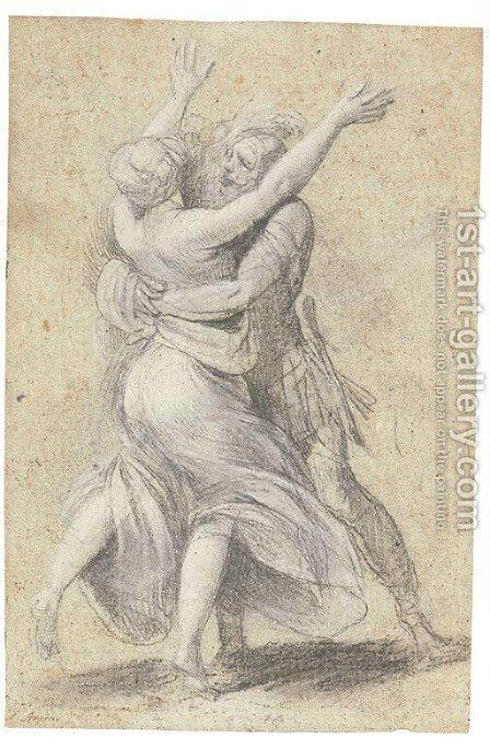 A female figure throwing up her arms, seen from behind, embraced by an advancing warrior for a Rape of the Sabines by Giuseppe (d'Arpino) Cesari (Cavaliere) - Reproduction Oil Painting