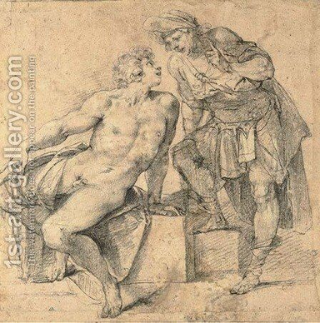 A seated nude youth turning addressed by a soldier by Giuseppe (d'Arpino) Cesari (Cavaliere) - Reproduction Oil Painting