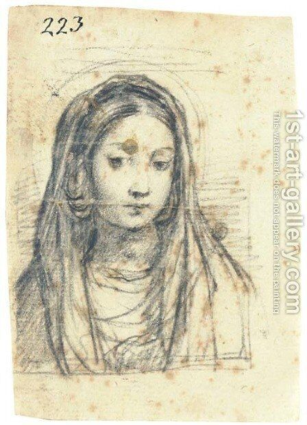 The Madonna, bust-length, looking down by Giuseppe (d'Arpino) Cesari (Cavaliere) - Reproduction Oil Painting