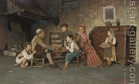 A game of cards by Giuseppe Constantini - Reproduction Oil Painting