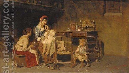 An artisan's family in an interior by Giuseppe Constantini - Reproduction Oil Painting