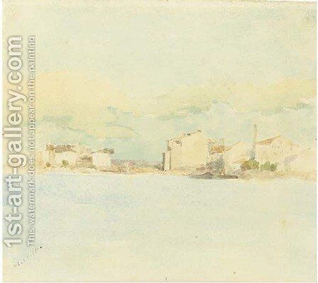 A seascape with houses in the background by Giuseppe de Nittis - Reproduction Oil Painting