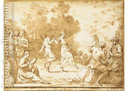 Peasants dancing in a landscape surrounded by musicians by Giuseppe Gambarini - Reproduction Oil Painting