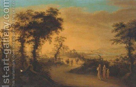 Travellers on a Tuscan road, Elba in the distance by Giuseppe Gherardi - Reproduction Oil Painting
