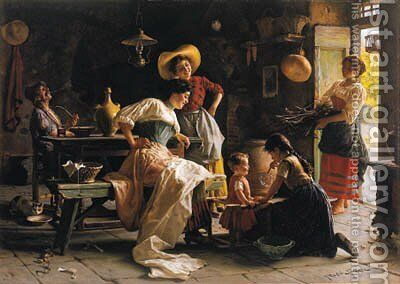 Blowing Bubbles by Giuseppe Magni - Reproduction Oil Painting
