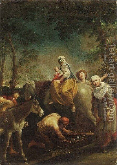 The Flight into Egypt by Giuseppe Maria Crespi - Reproduction Oil Painting