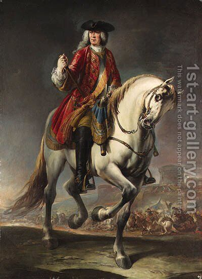 Equestrian portrait of Field Marshal Count Johann Matthias von der Schulenburg, full-length, in a red coat and a breastplate on a grey mare by Giuseppe Nogari - Reproduction Oil Painting