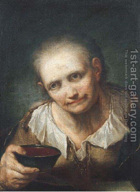 An old woman, holding a bowl by Giuseppe Nogari - Reproduction Oil Painting