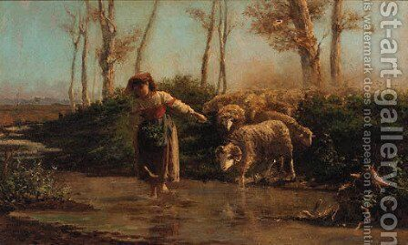 Crossing the river by Giuseppe Palizzi - Reproduction Oil Painting