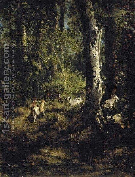 Goats Grazing in a Forest Landscape by Giuseppe Palizzi - Reproduction Oil Painting