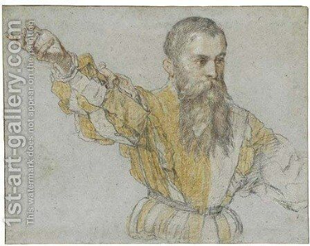 A bearded man, half-length, wearing a quartered doublet, gesturing to the left by Giuseppe Salviati - Reproduction Oil Painting