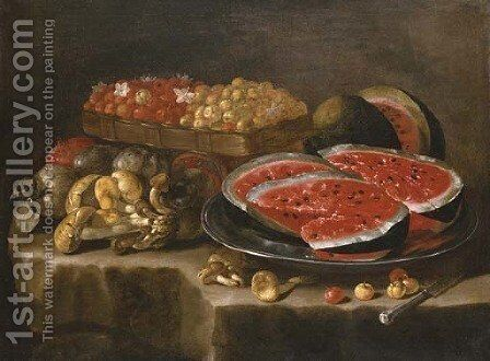 A still life of watermelon on a silver charger, berries in a basket, and a pomegranate, quinces and mushrooms on a stone ledge by Giuseppe Recco - Reproduction Oil Painting