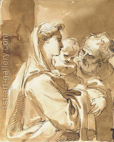 The Holy Family by Giuseppe Santi - Reproduction Oil Painting