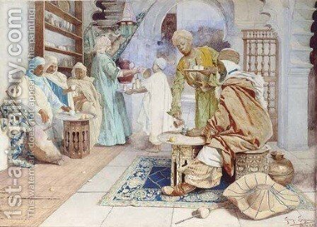 An Arab Cafe by Giuseppe Signorini - Reproduction Oil Painting