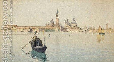 View from the Lagoon by Giuseppe Vizotto Alberti - Reproduction Oil Painting