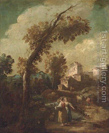 A river landscape with washerwomen and herdsmen, a town beyond by Giuseppe Zais - Reproduction Oil Painting