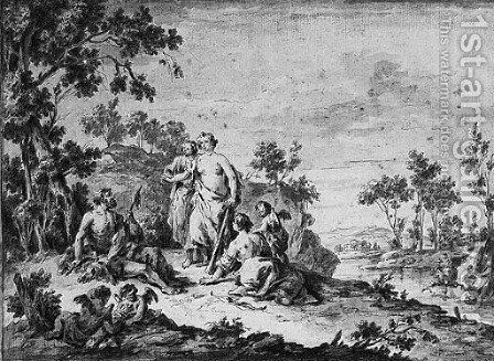 Hercules and Omphale in a Landscape by Giuseppe Zais - Reproduction Oil Painting