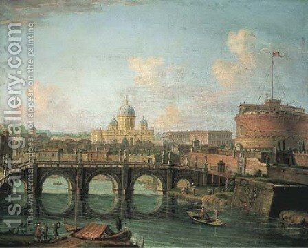 The Tiber, Rome, with the Castel Sant' Angelo and Saint Peter's in the background by Giuseppe Zais - Reproduction Oil Painting