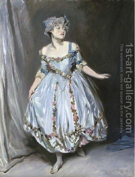Portrait sketch of Mrs. Emile Mond dressed for the Chelsea Arts Club Ball by Glyn Warren Philpot - Reproduction Oil Painting