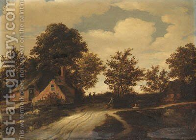 A hamlet with peasants on a path in a wooded landscape by Godaert Kamper - Reproduction Oil Painting