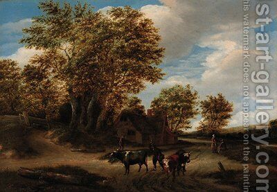 A wooded landscape with a herdsman and cattle on a track, peasants and a cottage beyond by Godaert Kamper - Reproduction Oil Painting