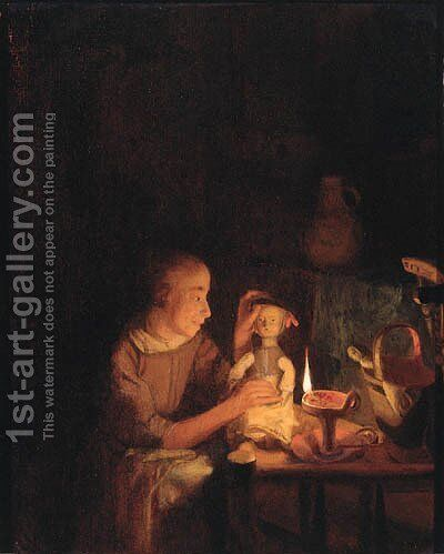 A young girl playing with her doll at a table, in an interior by candlelight by Godfried Schalcken - Reproduction Oil Painting