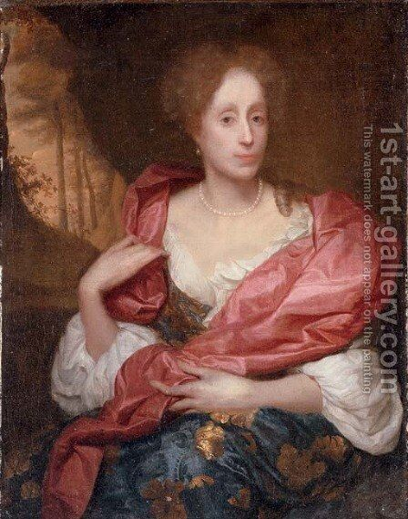 Portrait of a lady, three-quarter-length, in a blue dress with gold embroidery and a red shawl, seated in a landscape by Godfried Schalcken - Reproduction Oil Painting