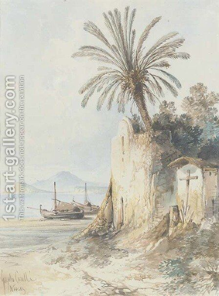 On the waterfront at Naples by Consalvo Carelli - Reproduction Oil Painting
