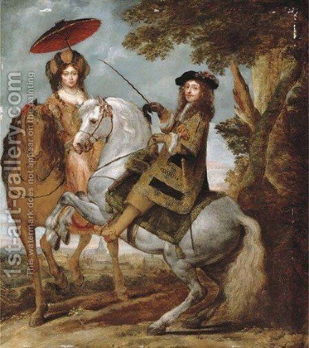 An equestrian portrait of an elegant gentleman and lady in a wooded landscape, a village beyond by Gonzales Coques - Reproduction Oil Painting