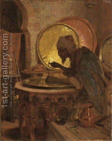 The Moroccan Engraver by Gordon Coutts - Reproduction Oil Painting
