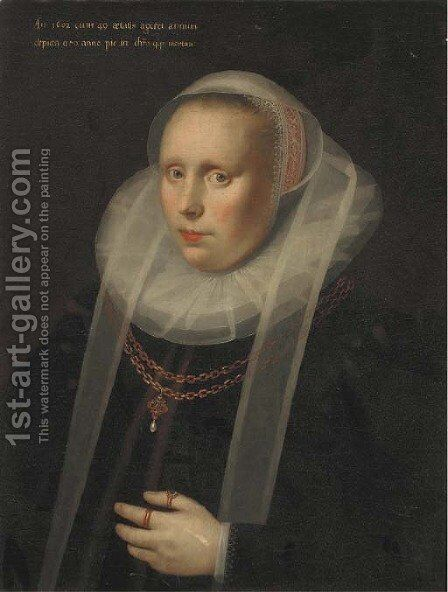 Portrait of a lady, half-length, in a ruff collar and a black silk dress, wearing a gold chain by Gortzius Geldorp - Reproduction Oil Painting