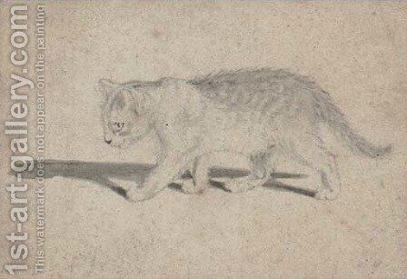 Study of a cat by Gottfried Mind or Mindt - Reproduction Oil Painting