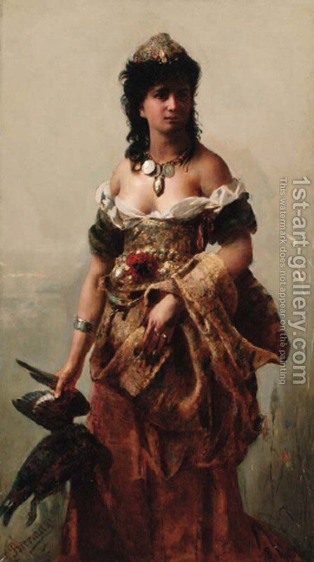 An Amazon by Gottlieb Biermann - Reproduction Oil Painting