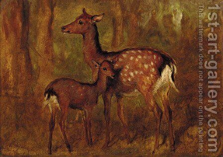 Japanese deer at Talliallan by Gourlay Steell - Reproduction Oil Painting