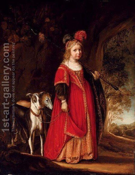 Portrait of a young girl as Diana by Govaert Flinck Cleve - Reproduction Oil Painting