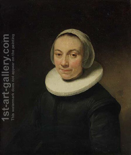 Portrait of a lady, bust-length, in a black dress with a ruff, and a white head-dress by Govert Teunisz. Flinck - Reproduction Oil Painting