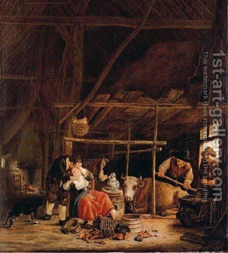 An amorous couple in a barn with herdsmen at the door by Govert Dircksz. Camphuyzen - Reproduction Oil Painting