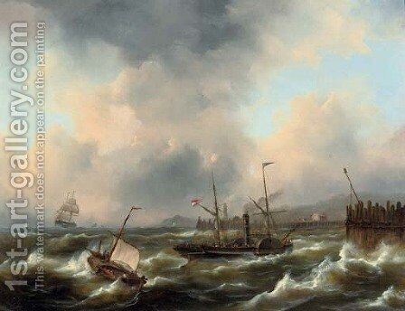 A paddle steamer on rough water by Govert Van Emmerik - Reproduction Oil Painting