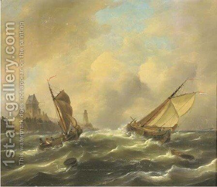 Sailing in a stiff breeze by a coast by Govert Van Emmerik - Reproduction Oil Painting