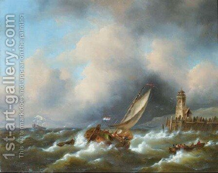 Sailing in a stiff breeze by a coast 2 by Govert Van Emmerik - Reproduction Oil Painting