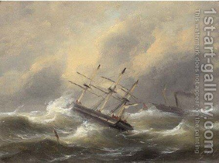 Sailing ships in stormy weather by Govert Van Emmerik - Reproduction Oil Painting