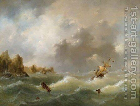 Ships in distress by Govert Van Emmerik - Reproduction Oil Painting