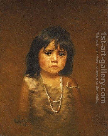 Indian Child with Tear by Grace Carpenter Hudson - Reproduction Oil Painting