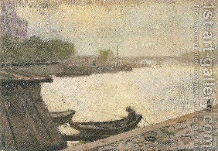 Fishing on the Seine by Granville Redmond - Reproduction Oil Painting
