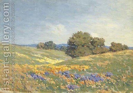 Landscape with Poppies and Lupin by Granville Redmond - Reproduction Oil Painting