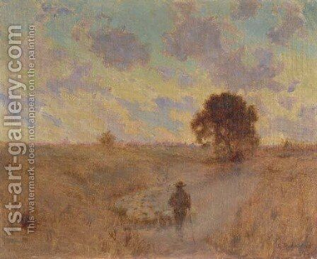 Shepherd in Pasture by Granville Redmond - Reproduction Oil Painting