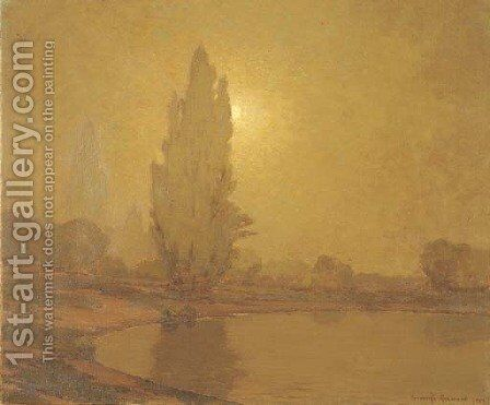 Sunset over Lake Merritt, Oakland by Granville Redmond - Reproduction Oil Painting