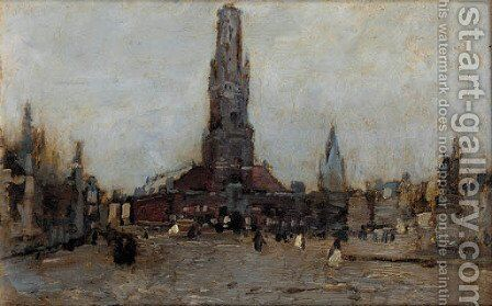 A square in Bruges by Guglielmo Ciardi - Reproduction Oil Painting